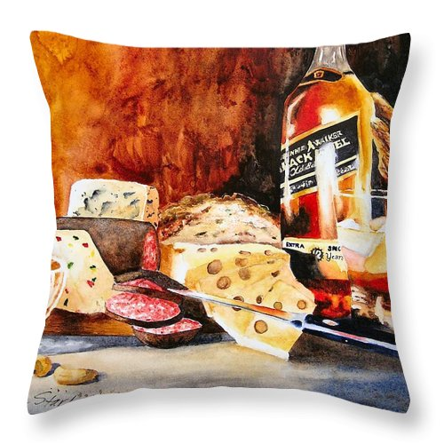 Scotch Throw Pillow featuring the painting Spirited Indulgences by Karen Stark