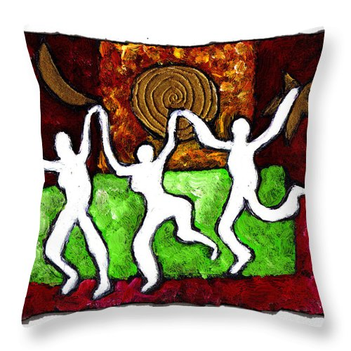Dance Throw Pillow featuring the painting Spirits Of The Dance by Wayne Potrafka