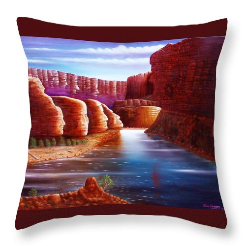 River... Images In The Rocks Throw Pillow featuring the painting Spirits Of The River by Gene Gregory