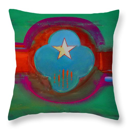 Star Throw Pillow featuring the painting Spiritual Green by Charles Stuart