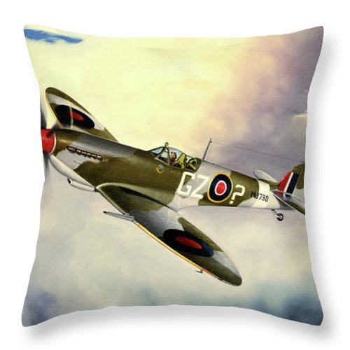 Military Throw Pillow featuring the painting Spitfire by Marc Stewart