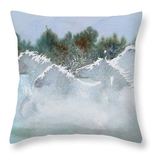 Horse Throw Pillow featuring the painting Splash 1 by Ally Benbrook