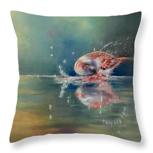 Nature Throw Pillow featuring the painting Splash by Ceci Watson