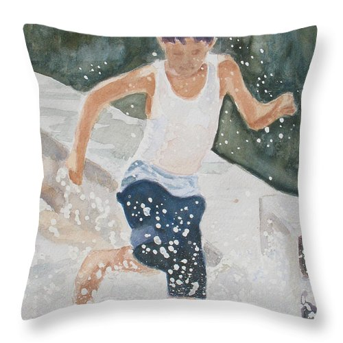 Boy Throw Pillow featuring the painting Splash Dance by Jenny Armitage