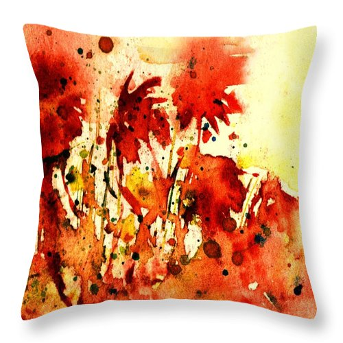 Floral Abstract Throw Pillow featuring the painting Splash Of Red by Robin Monroe