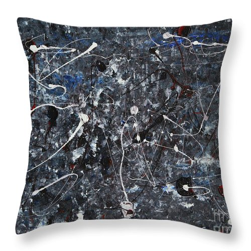 Splatter Throw Pillow featuring the painting Splattered - Grey by Jacqueline Athmann
