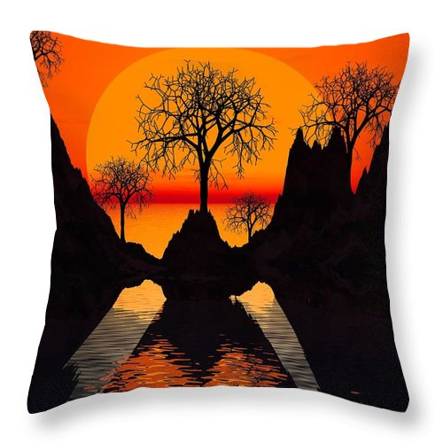 Trees Throw Pillow featuring the digital art Splintered Sunlight by Robert Orinski