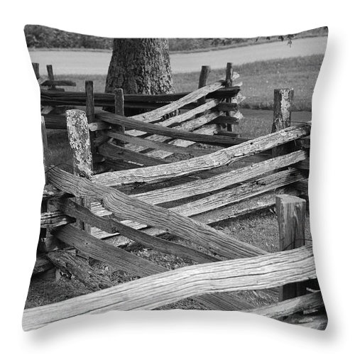 Road Throw Pillow featuring the photograph Split Rail Fence by Eric Liller
