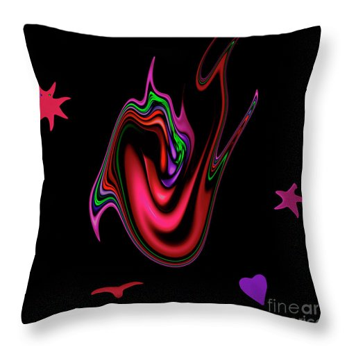 Split Tongue Words Meaning Heart Devil Weapon Mouth Dangerous Speak Speaking Throw Pillow featuring the digital art Split Tongue by Steve K