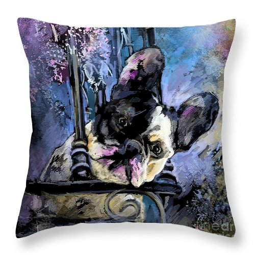 Dog Painting Throw Pillow featuring the painting Spok by Miki De Goodaboom