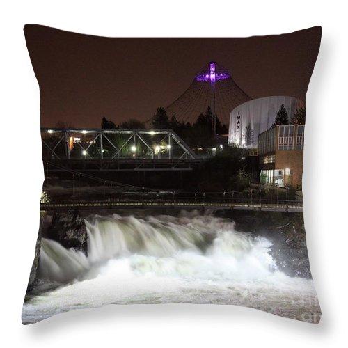 Spokane Throw Pillow featuring the photograph Spokane Falls Night Scene by Carol Groenen
