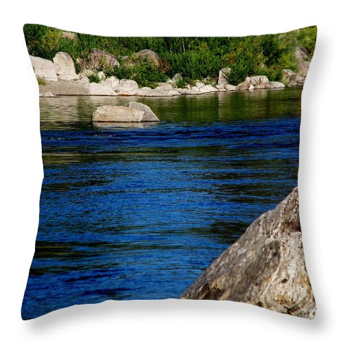 Patzer Throw Pillow featuring the photograph Spokane River by Greg Patzer