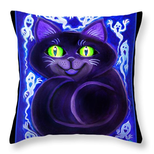 Cat Throw Pillow featuring the painting Spooky Cat by Nick Gustafson