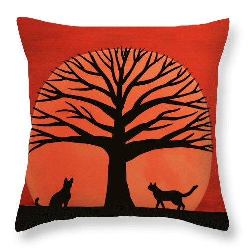 Spooky Cat Tree Throw Pillow