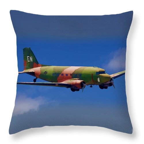 Douglas Throw Pillow featuring the digital art Spooky Douglas Ac-47 by Tommy Anderson