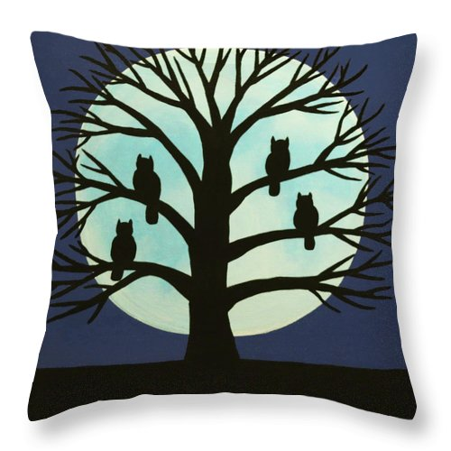 Spooky Owl Tree Throw Pillow