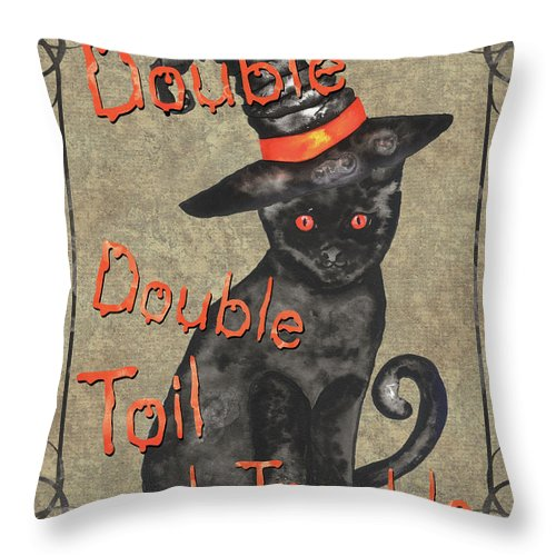 Hat Throw Pillow featuring the painting Spooky Pumpkin 3 by Debbie DeWitt