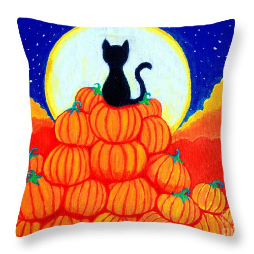 Spooky Throw Pillow featuring the painting Spooky The Pumpkin King by Nick Gustafson