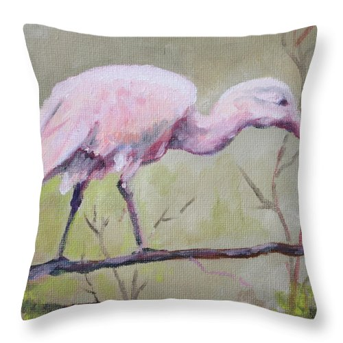 Bird Throw Pillow featuring the painting Spoonbill by Carol Mueller
