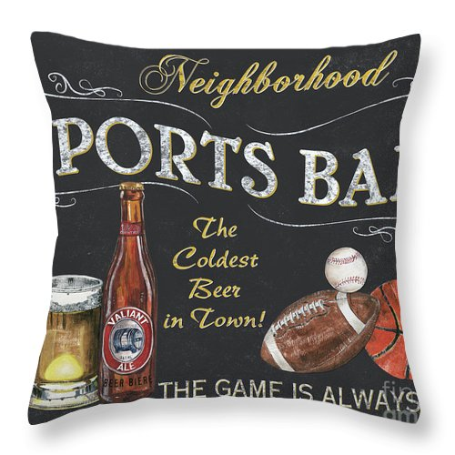 Sports Throw Pillow featuring the painting Sports Bar by Debbie DeWitt