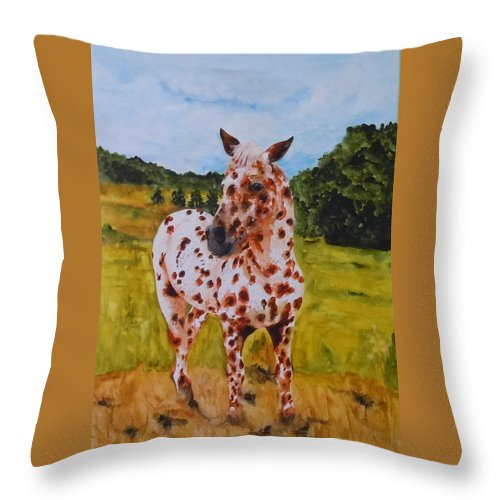 Horse Throw Pillow featuring the painting Spotted in Hawaii by Jean Blackmer