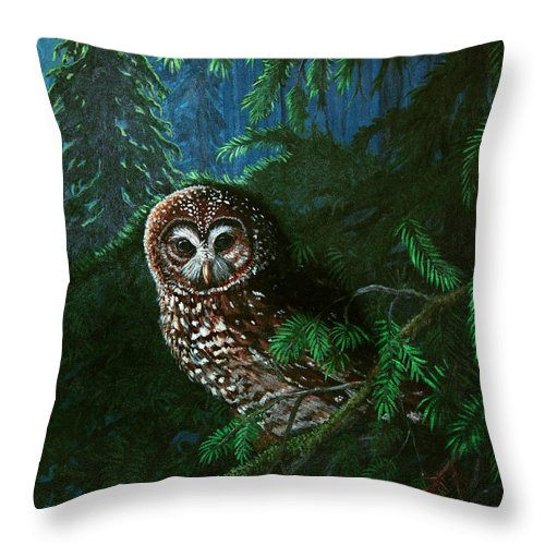 Owl Throw Pillow featuring the painting Spotted Owl In Ancient Forest by Nick Gustafson