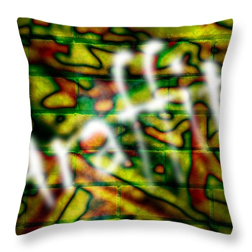 Graffiti Throw Pillow featuring the photograph Spray Painted Graffiti by Phill Petrovic