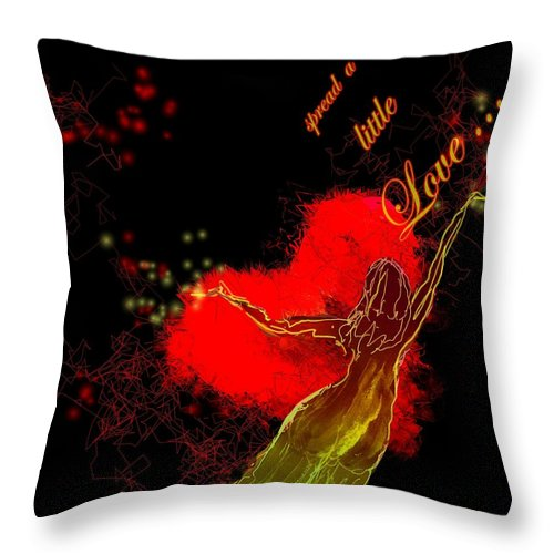 Love Throw Pillow featuring the painting Spread A Little Love by Miki De Goodaboom