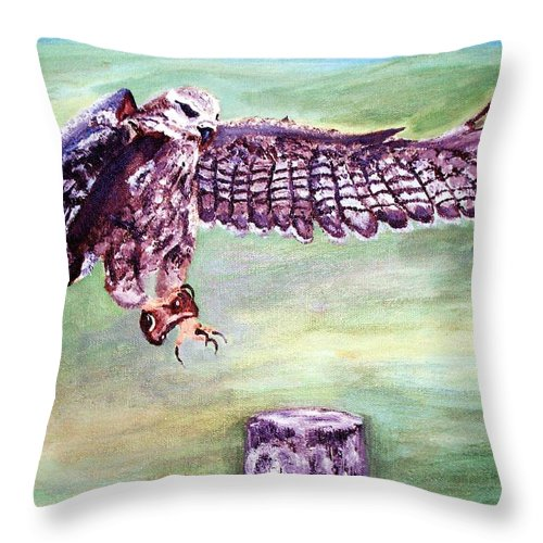 Osprey Throw Pillow featuring the painting Spread Your Wings by Robin Monroe