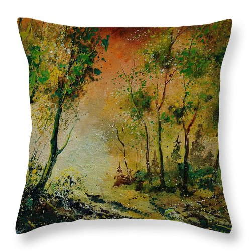 Spring Throw Pillow featuring the painting Sprin In Wood 45 by Pol Ledent