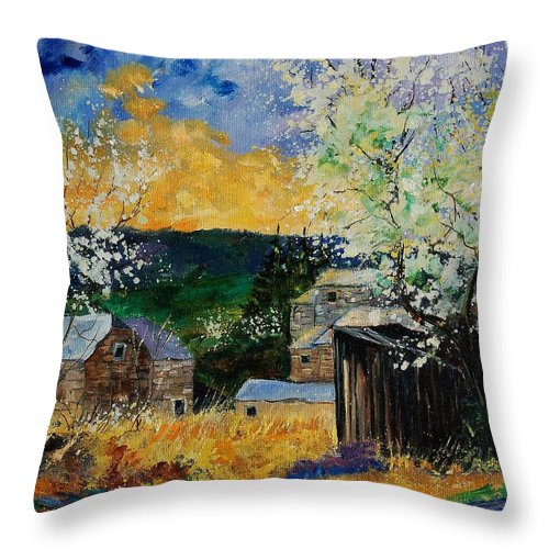 Spring Throw Pillow featuring the painting Spring 45 by Pol Ledent