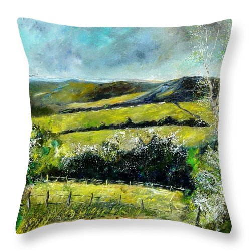 Landscape Throw Pillow featuring the print Spring 79 by Pol Ledent