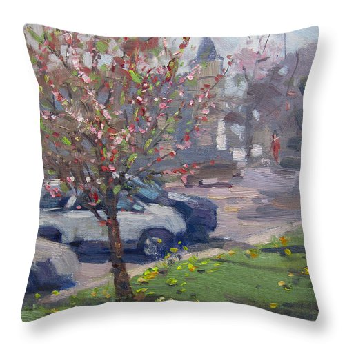 Spring Throw Pillow featuring the painting Spring At Main St North Tonawanda by Ylli Haruni