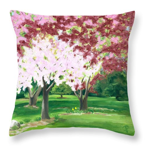 Spring Throw Pillow featuring the painting Spring at Osage Land Trust by Paula Emery