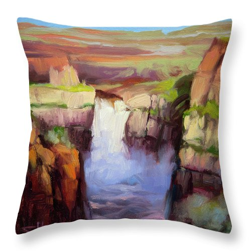 Waterfall Throw Pillow featuring the painting Spring At Palouse Falls by Steve Henderson