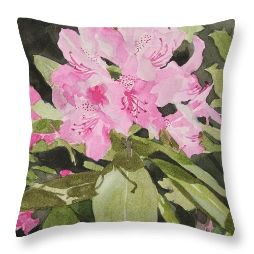 Flowers Throw Pillow featuring the painting Spring At The Cabin by Jean Blackmer