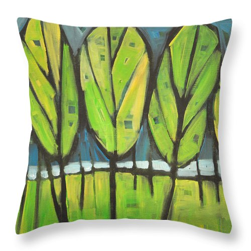Spring Throw Pillow featuring the painting Spring At The Lake by Tim Nyberg