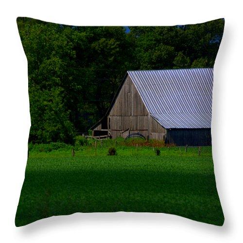 Green Throw Pillow featuring the photograph Spring Barn by Sheri Bartoszek