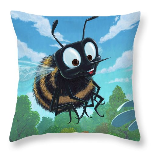 Spring Throw Pillow featuring the painting Spring Bee by Martin Davey