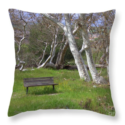 Bench Throw Pillow featuring the photograph Spring Bench In Sycamore Grove Park by Carol Groenen
