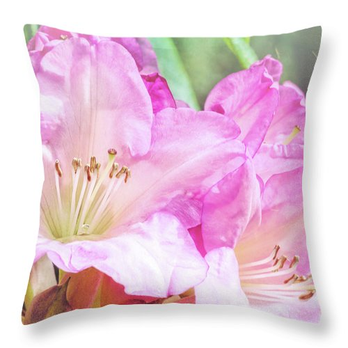 Rhododendron Throw Pillow featuring the photograph Spring Bling by Jean OKeeffe Macro Abundance Art
