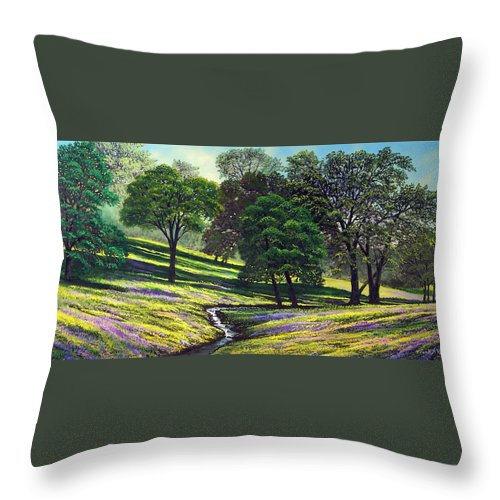 Landscape Throw Pillow featuring the painting Spring Bloom Table Mountain by Frank Wilson