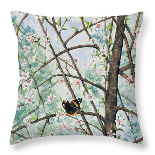 Butterfly Throw Pillow featuring the painting Spring Blossom by Mary Tuomi