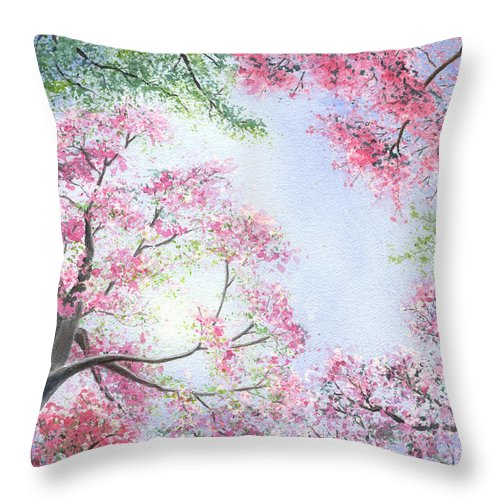 Tree Blossoms Throw Pillow featuring the painting Spring Blossoms by Lynn Quinn