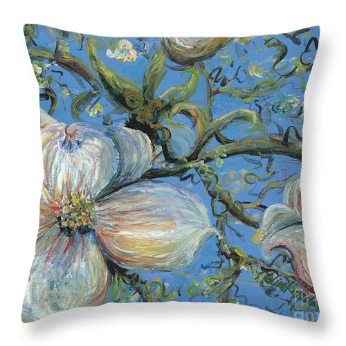 Flower Throw Pillow featuring the painting Spring Blossoms by Nadine Rippelmeyer
