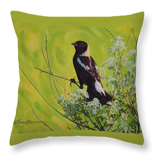 Bird Painting Throw Pillow featuring the painting Spring Bobolink by Bruce Morrison