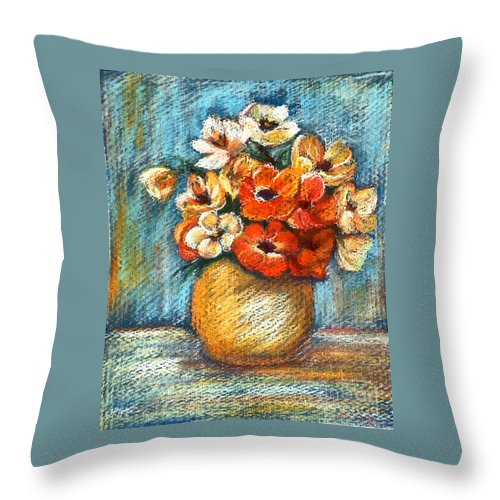 Stilllife Throw Pillow featuring the drawing Spring Bouquet by Enzie Shahmiri