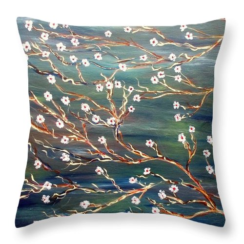 Floral Scene Throw Pillow featuring the painting Spring Breeze by Robin Monroe