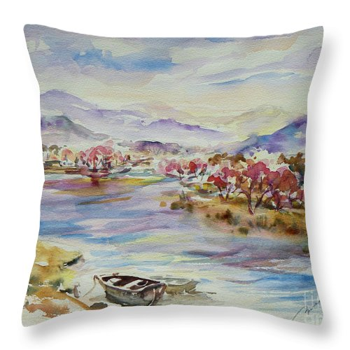 Watercolour Throw Pillow featuring the painting Spring Breeze by Xueling Zou
