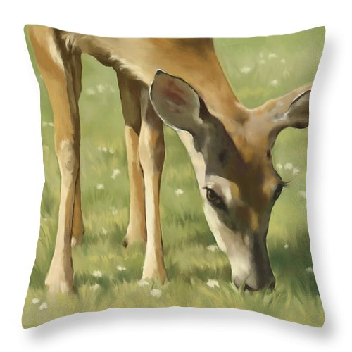 Deer Throw Pillow featuring the painting Spring Buck by Laurie Musser